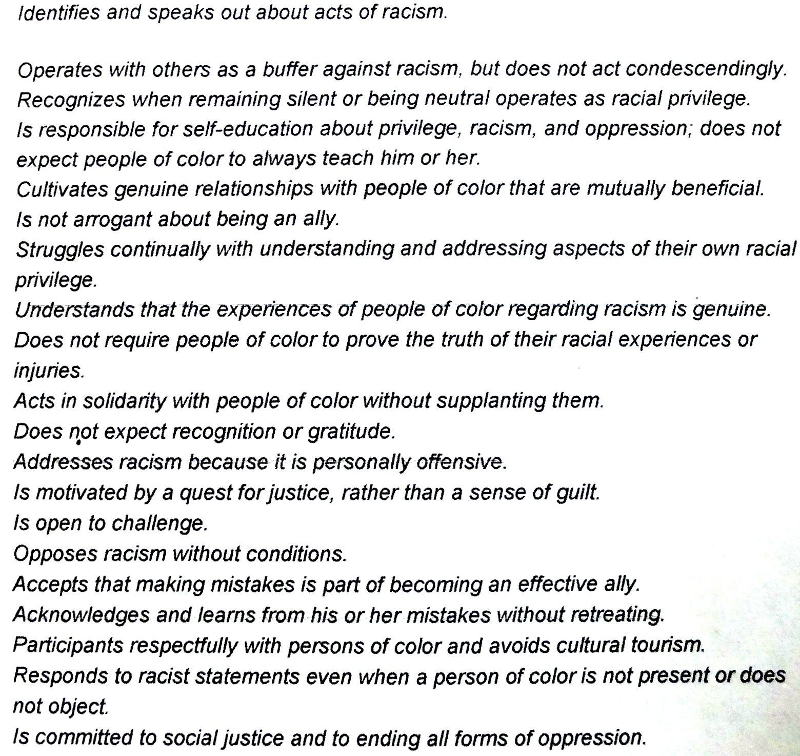 Qualities of a White Anti Racist Ally